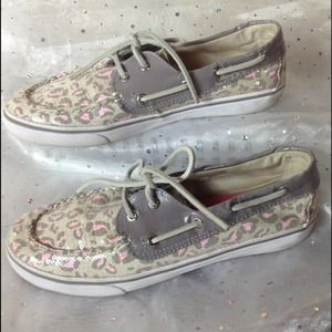SPERRY Top Siders Leopard Sequin Gray Shoes 5.5